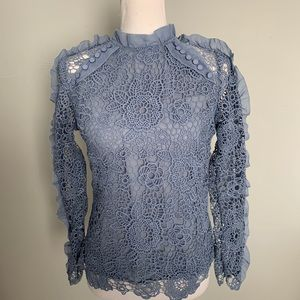 INA blue lace Victorian inspired top